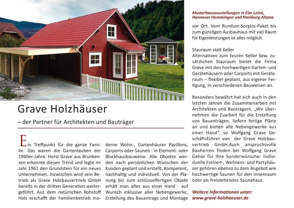 Pressespiegel dargestellt mit Holzwohnhaus und Produktpalette