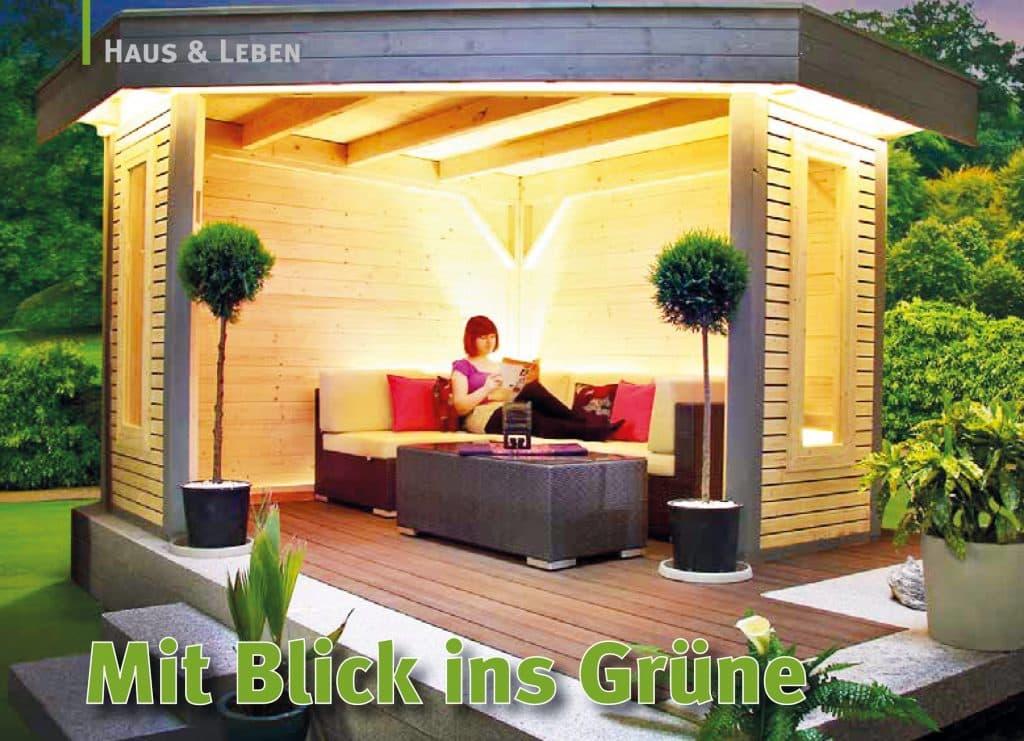 Offene Gartenlaube mit Rhombusschalung und Flachdach